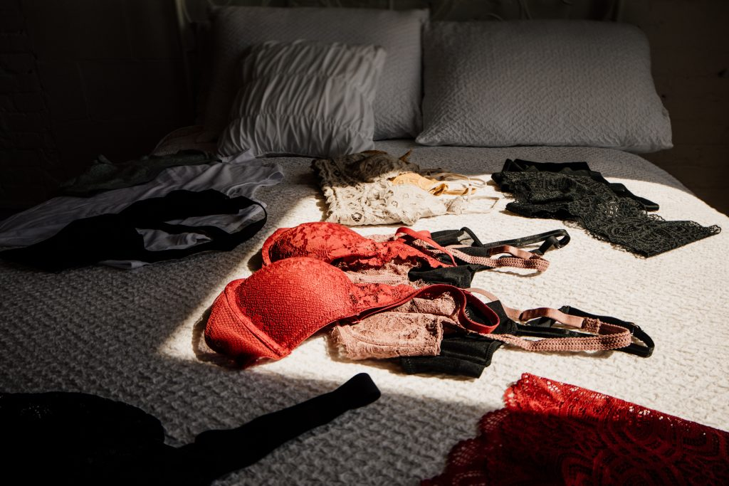 Lingerie on bed at Juniper Loft for Boudoir Session